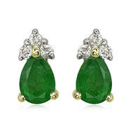 Picture of Pear Emerald And Diamond Earrings