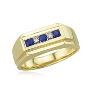Picture of Men's Blue Sapphire And Diamond Ring