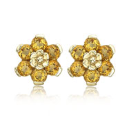 Picture of 14K Yellow Gold Citrine Flower Earrings