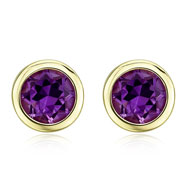 Picture of ROUND AMETHYST YELLOW GOLD STUDS