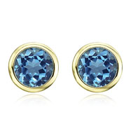 Picture of Round Blue Topaz Bezel Set Studs