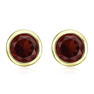 Picture of ROUND DARK RED GARNET BEZEL SET STUDS