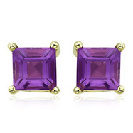 Picture of Square Purple Amethyst Prong Set Studs