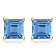 Picture of SQUARE BLUE TOPAZ PRONG SET STUDS