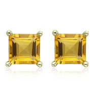 Picture of SQUARE YELLOW CITRINE PRONG SET STUDS