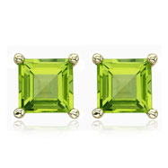 Picture of SQUARE GREEN PERIDOT PRONG SET STUDS