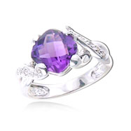 Picture of Cushion Cut Amethyst With White Gold Diamond Ring
