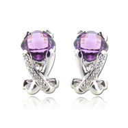 Picture of Cushion Cut Amethyst With White Gold Diamond Earrings