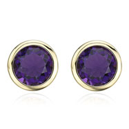 Picture of 14K Yellow Gold 8mm Bezel Set Amethyst Studs
