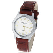 Picture of Ladies' Charles Hubert Brown Leather Band & Silver-White Round Dial Dress Watch