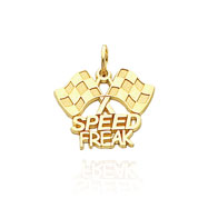 "Picture of 14K Yellow Gold ""Speed Freak"" Racing Flags Charm"