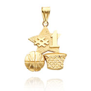 Picture of 14K Yellow Gold Polished #1 Basketball Charm