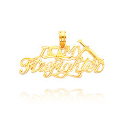 Picture of 14K Yellow Gold Polished I Heart My Firefighter Pendant