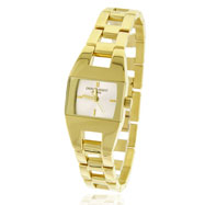 Picture of Ladies' Charles Hubert 14K Gold-Plated Stainless Steel Square Face Watch