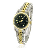 Picture of Ladies' Charles Hubert 14K Gold-Plated Two-Tone Stainless Steel Black Dial Watch