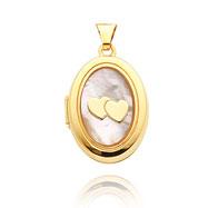 Picture of 14K Yellow Gold Oval-Shaped Double Heart Mother of Pearl Locket