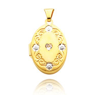Picture of 14K Yellow Gold & Rhodium Heart-Shaped CZ Scroll Trim Locket