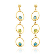 Picture of 14K Gold Blue Topaz And Peridot Triple Drop Circle Dangle Earrings
