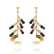 Picture of 14K Gold Multi-Colored Gemstones And Pearl Dangle Earrings
