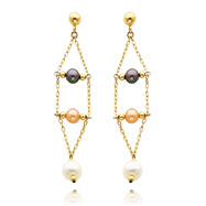Picture of 14K Gold Black Pink And White Pearl Dangle Earrings