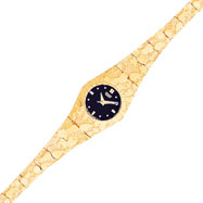 Picture of 10K Gold Black Dial Circular Face Nugget Watch