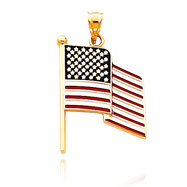 Picture of 14K Gold Enameled Flag Pendant
