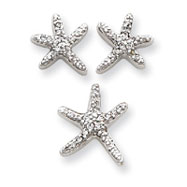 Picture of Sterling Silver CZ Starfish Earrings And Pendant Set