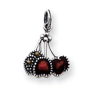 Picture of Sterling Silver Enameled Red Cherry Charm