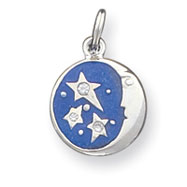Picture of Sterling Silver Blue Enameled With CZ Charm
