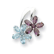 Picture of Sterling Silver Blue & Purple CZ Floral Pendant