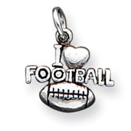 Picture of Sterling Silver Antique I Heart Football Charm