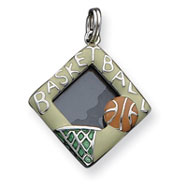 Picture of Sterling Silver Enameled Basketball Picture Frame Charm