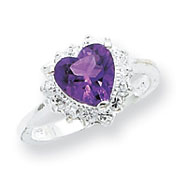Picture of Sterling Silver Amethyst And CZ Heart Ring