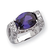 Picture of Sterling Silver Amethyst Color CZ Fancy Ring