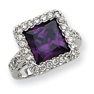 Picture of Sterling Silver Purple Square CZ Ring