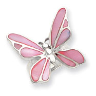 Picture of Sterling Silver Pink Mother Of Pearl Butterfly Ring