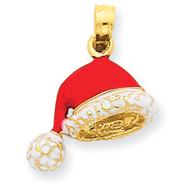 Picture of 14K Gold 3-D Enameled Santa Hat Charm