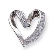 Picture of Sterling Silver CZ Fancy Heart Pendant