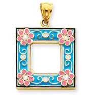 Picture of 14K Gold Aqua Enameled Picture Frame Pendant