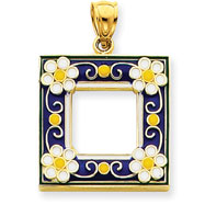 Picture of 14K Gold Blue Enameled Picture Frame Pendant