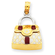 Picture of 14K Two-Tone Gold Red & White Enameled Purse Pendant