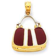 Picture of 14K Two-Tone Gold Maroon Enameled Purse Pendant