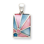Picture of Sterling Silver Pink and Blue Mother Of Pearl Sunburst Design Pendant