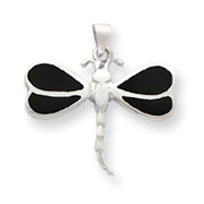Picture of Sterling Silver Black Shell Dragonfly Pendant
