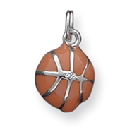 Picture of Sterling Silver Orange Enameled Basketball Charm