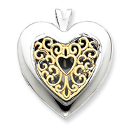 Picture of 14K Gold & Sterling Silver Filigree Heart Locket