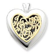 Picture of 14K Gold & Sterling Silver Heart With  I Love You Locket