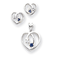 Picture of Sterling Silver Blue & Clear CZ Heart Earring & Pendant Set