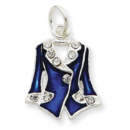 Picture of Sterling Silver Blue Enameled And Crystal Vest Charm