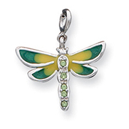 Picture of Sterling Silver CZ & Enameled Dragonfly